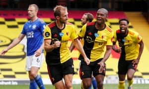 Watford's Craig Dawson celebrates his spectacular equaliser