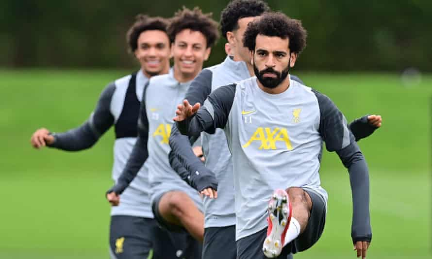 Mohamed Salah, who reached 100 Premier League goals on Sunday, in Liverpool training on Tuesday.