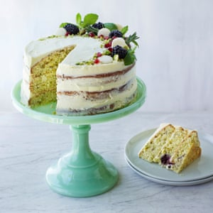 Sarah's pistachio, blackberry and white chocolate layer cake. Prop styling Kate Whitaker. Food styling Jules Mercer.
