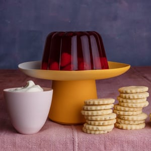 Raspberry jelly from 30 Ingredients by Sally Clarke. 20 best easy puddings, styled Polly Webb-Wilson.