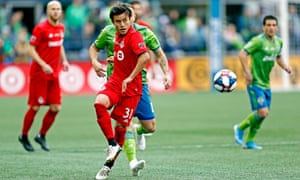 MLS: MLS Cup-Toronto FC vs Seattle FCNovember 10, 2019; Seattle, WA, USA; Toronto FC forward Tsubasa Endoh (31) kicks the ball against Seattle Sounders midfielder Nicolas Lodeiro (10) in the first half during the MLS Cup at CenturyLink Field. Mandatory Credit: Jennifer Buchanan-USA TODAY Sports