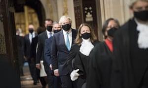 Boris Johnson after the Queen's speech. Photograph: Stefan Rousseau/Pool via AP