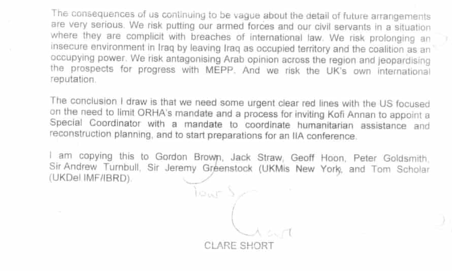 Excerpt from a letter from Clare Short to Blair
