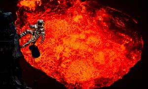 man over lava