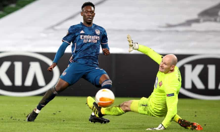 Folarin Balogun scores against Dundalk in the EUropa League in December.