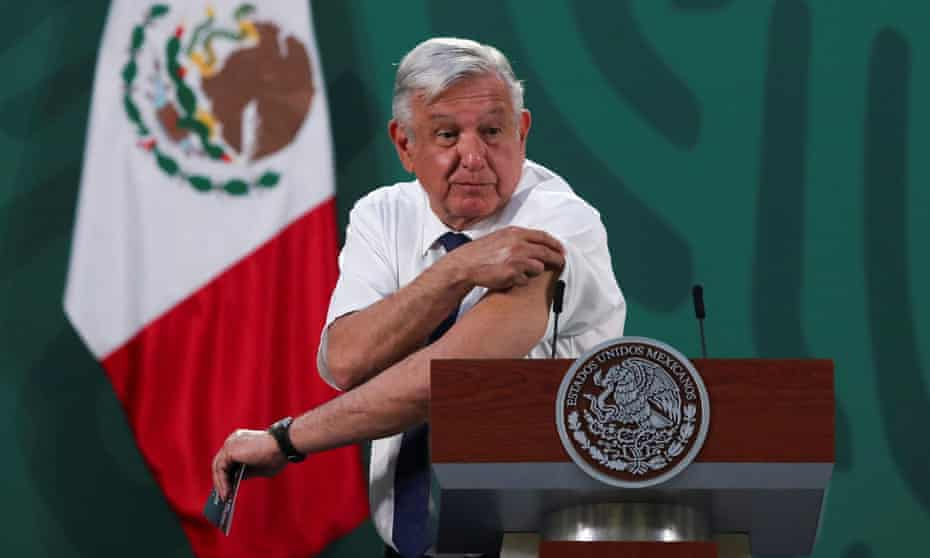 President Andrés Manuel López Obrador shows his arm after receiving a dose of the AstraZeneca Covid-19 vaccine. He has faced criticism for his handling of the pandemic, in which more than 225,000 Mexicans have died.