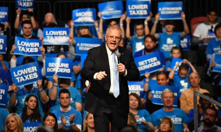 Scott Morrison at a campaign rally at Sydney Olympic Park on Sunday.