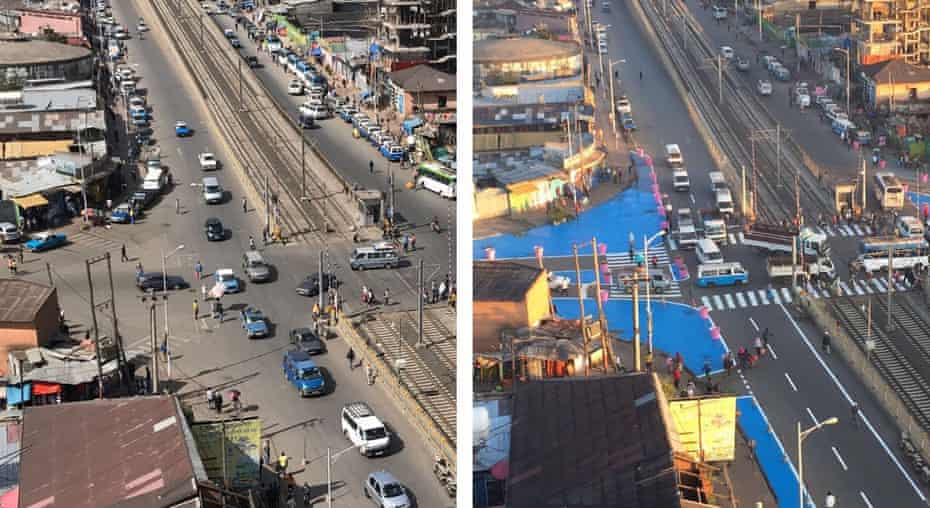 Sebategna Intersection in Addis Ababa – before and after