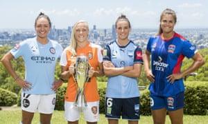 Steph Catley of Melbourne City, Tameka Butt of Brisbane Roar, Chloe Logarzo of Sydney FC and Katie Stengel of Newcastle Jets