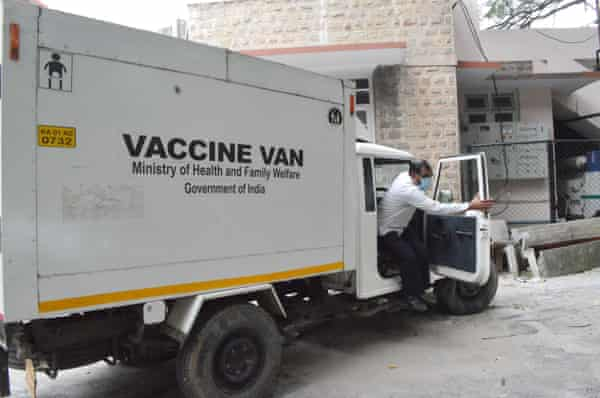 A cold storage van at a government hospital in Bangalore that may be one of the sites used for storage and dispatch of the Covid-19 vaccine.