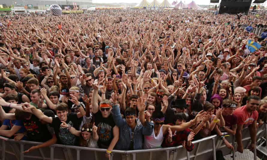 The crowd by the main stage at the Reading festival.