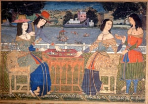 A late 17th-century painting of taking tea in India.