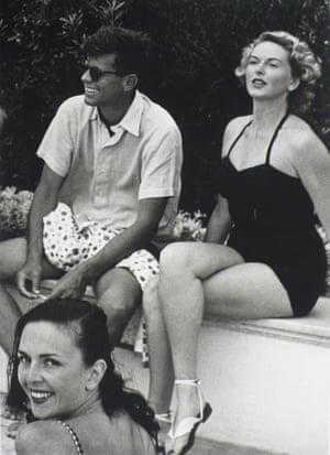 John F Kennedy, Florette and a friend at André Dubonnet's, Cap d'Antibes, August 1953