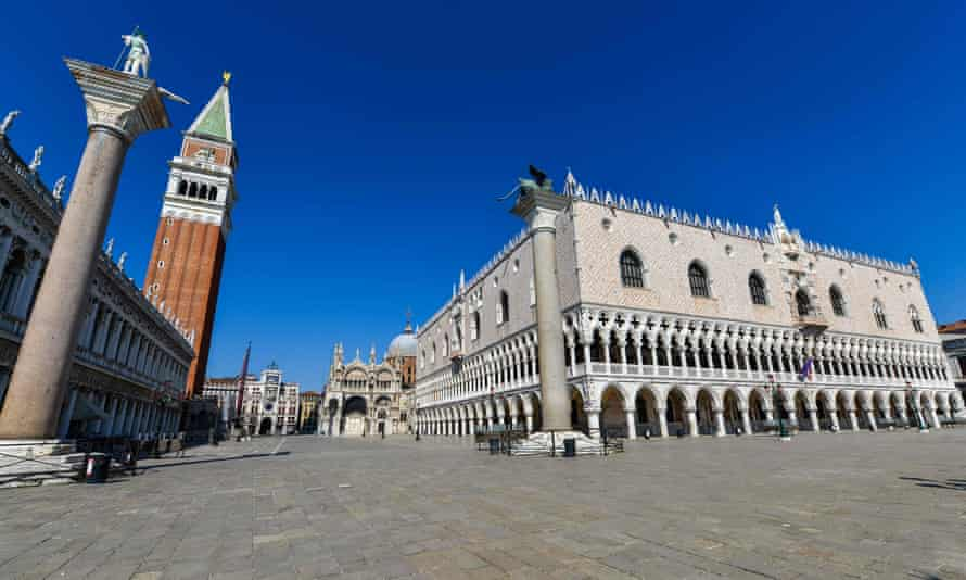 A deserted St Mark's Square in Venice