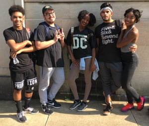 Monique Watson (far right) with others from Culture Shock DC, a hip-hop dance not-for-profit group, waiting to get into the pop-up dance class.