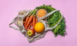 Reusable Cotton Mesh Bag With Fruit And Vegetables.