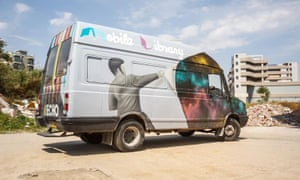The mobile library on the road.