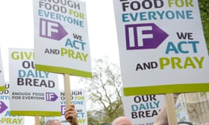 Placards at a Cafod-organised demonstration