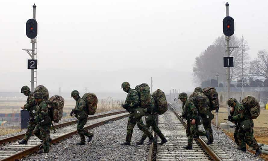 A group of South Korean soldiers on patrol in the DMZ