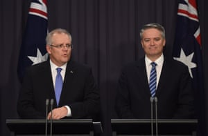 Australia's Treasurer Scott Morrison and Australia's Finance Minister Mathias Cormann as they delivered the Myefo statement.