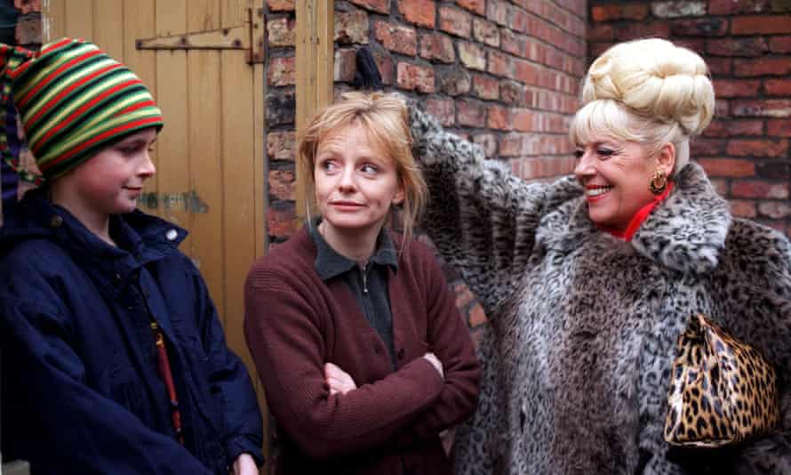 With Julie Goodyear, right, and Joseph Gilgun in Coronation Street in 1995.