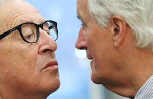 Brussels, Belgium. EU Commission President Jean-Claude Juncker greets European Union's chief Brexit negotiator Michel Barnier during a meeting of the College of EU Commissioners