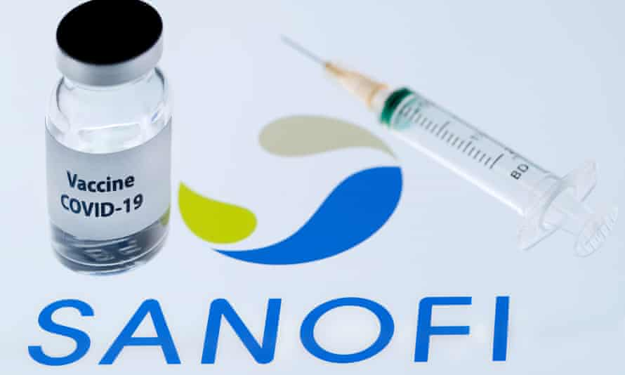 A vaccine phial alongside the Sanofi logo