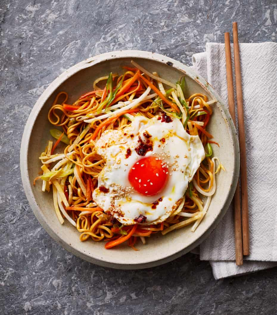 Thomasina Miers' root veg 'hangover' noodles with a crispy fried egg.