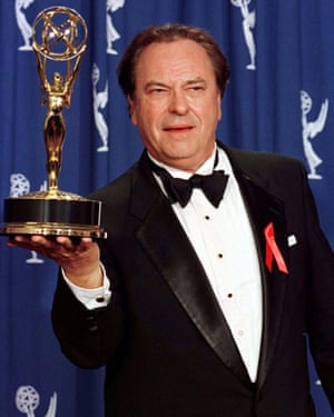 Rip Torn received six consecutive nominations for the Primetime Emmy for outstanding supporting actor in a comedy series for his work on The Larry Sanders Show. He won it just once and here he is with his award on 8 September 1996 in Pasedena, California.