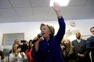 Hillary Clinton speaks to hospital workers at the St. John Riverside Hospital.