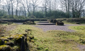 The remains of Sandwell Priory in Priory Woods, Sandwell, West Midlands