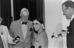 Ruth Bader Ginsburg with senators Daniel Moynihan, left, and Joe Biden, following her supreme court nomination in 1993.
