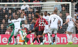 Nathan Ake of Bournemouth bangs the ball home but it's disallowed for offside.