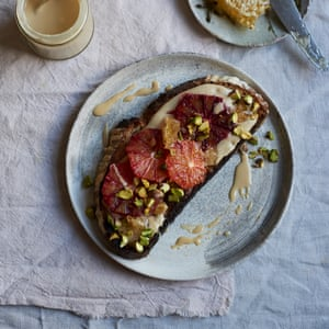 Not your average snack: Anna Jones' tahini and pistachio toasts topped with fresh fruit.