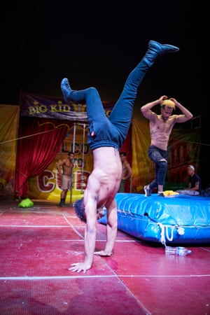 Performers from Big Kid Circus practise on the big top stage