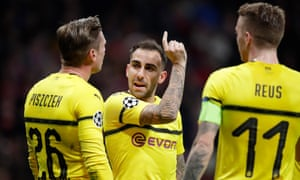 Paco Alcácer points the way during the recent game against Atlético Madrid. The on-loan forward has a goal every 27 minutes he has played this season.