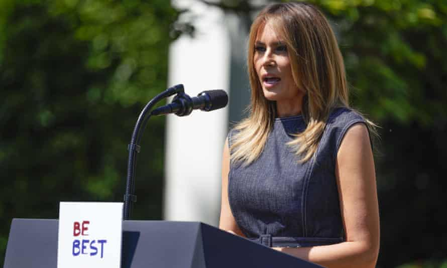 The first lady, Melania Trump, speaks during an event to celebrate the one year anniversary of her 'Be Best' initiative in the Rose Garden on Tuesday.