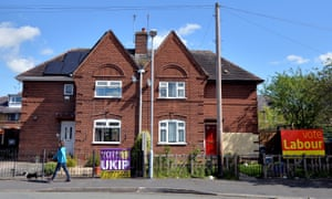 A house in Chester displaying Ukip and Labour posters, April 2015