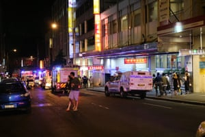 Police put up isolation zone in Sydney's Chinatown after a gas explosion blew out a shutter door from the loading dock of a food court on Tuesday night.