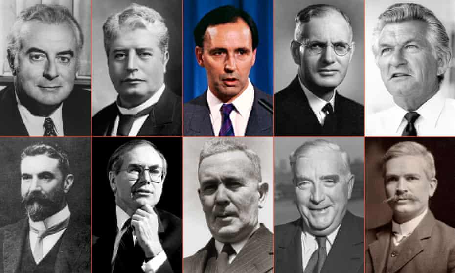 Former Australian prime ministers (from top L-R): Gough Whitlam, Edmund Barton, Paul Keating, John Curtin, Bob Hawke, Alfred Deakin, John Howard, Ben Chifley, Robert Menzies and Andrew Fisher.