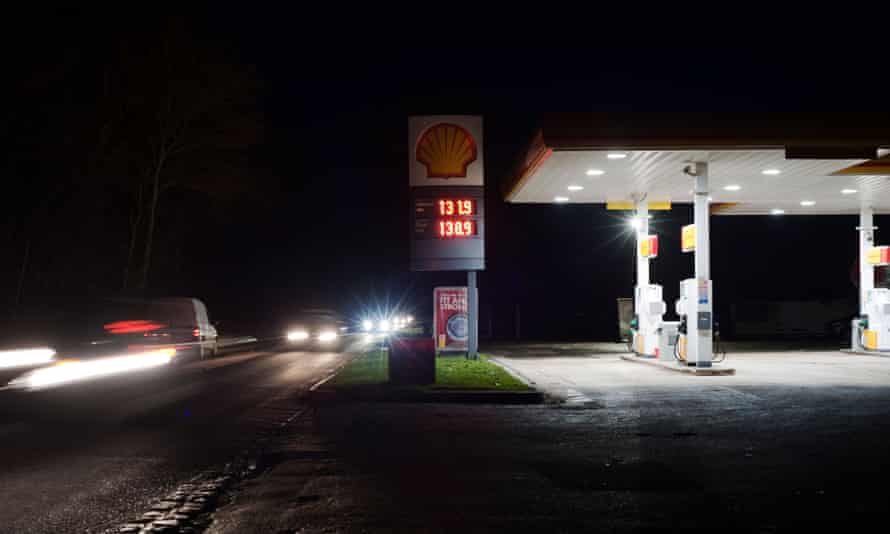 Petrol station in winter in Gloucestershire, England