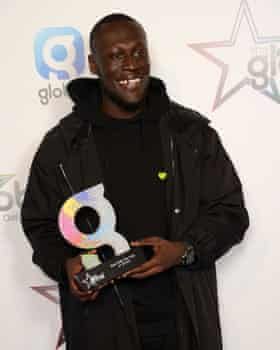 Magic Radio fan Stormzy with his Global Award for best R&B, hip-hop or grime artist.