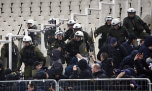 Greek riot police were involved in clashes with Ajax supporters.