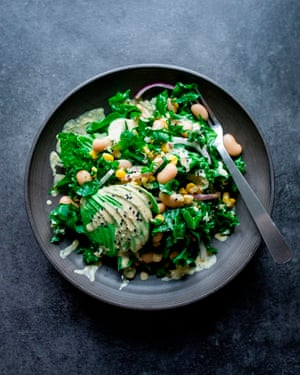 Kale, romaine, avocado and giant white beans with a tahini and ginger dressing