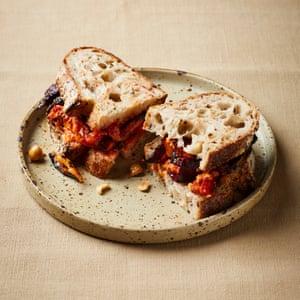 Dusty Knuckle's leftovers sandwiches: Roast veg, hazelnut and harissa.