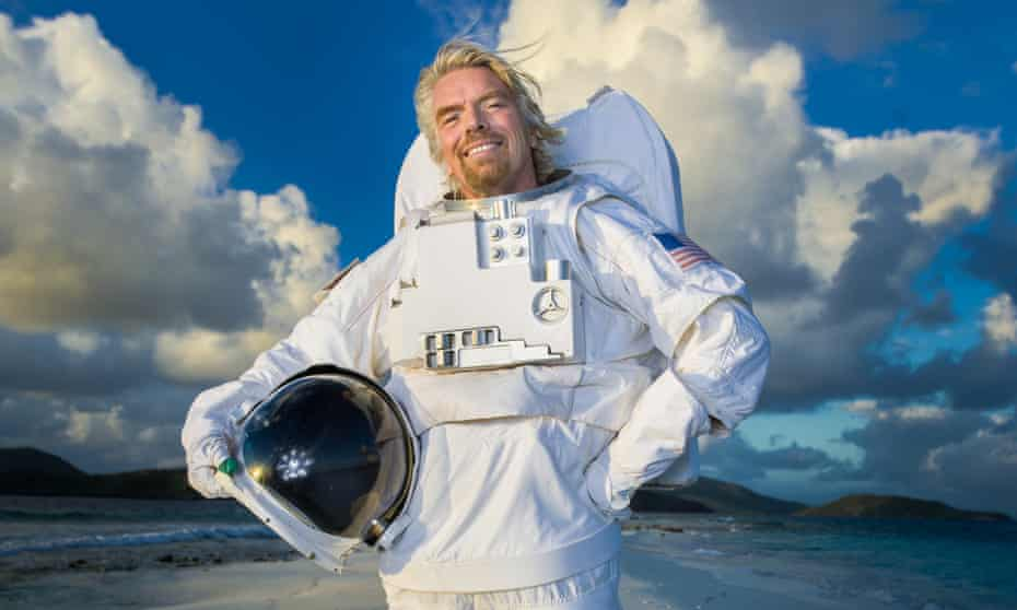 Rocket man: Richard Branson photographed at home on Necker Island in a space suit