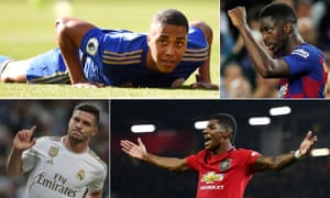 (Clockwise from top left) Leicester's Youri Tielemans, Ousmane Dembélé of Barcelona, Manchester United's Marcus Rashford and Real Madrid's Luka Jovic.