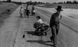 A family in Oklahoma leave their home during the Great Depression of the 1930s