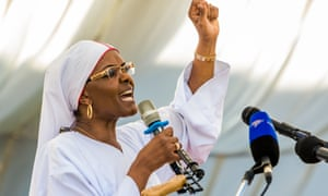 Grace Mugabe addresses Zimbabwean worshippers and congregants at a rally in Harare earlier in November.