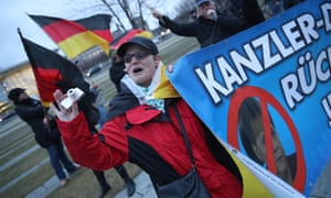 Supporters of the right-wing Alternative for Germany (AfD) political party demonstrate outside the Chancellery in Berlin last week.